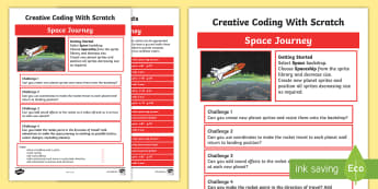 Space Journey Scratch Activity Sheet - worksheet, computing, programming, coding, algorithms, instructions, commands, Scratch