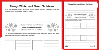 Always Winter Creative Writing Activity Sheet - Narnia, literacy, creative writing, describing, phrases, descriptive, creating texts, worksheet, Sco