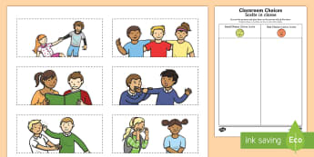 Classroom Choices Cutting Skills Activity Sheet English/Italian  - Back to School, good choices, poor choices, cutting, first day of school, fine motor
