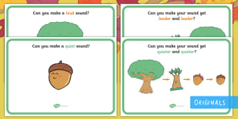 Little Acorns Loud and Quiet Music Cards - Little Acorns, Twinkl Originals, Twinkl Ficition, Reading, books, story, life cycles, acorn, oak tre