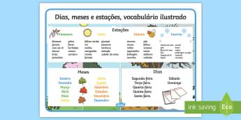 Dias, meses e estações, vocabulário ilustrado portuguese - dia,semana,mes,dias,semanas,meses,ano,anos,tempo,gestao,sala de aula, calendario, vocabulario