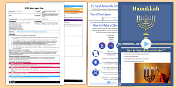 Hanukkah Star of David Jigsaw Activity EYFS Adult Input Plan and Resource Pack