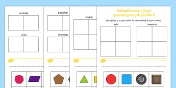 Zestaw kart Porzadkowanie figur geometrycznych