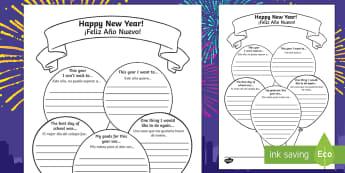Happy New Year Activity Sheet English/Spanish - new year, worksheet, happy new year, happynewyear, new yeAT, NEW YAR, new yeart, EAL