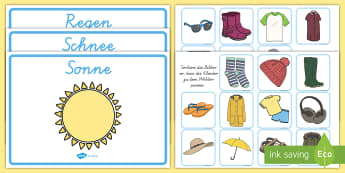 Weather Clothes Sorting Activity German - german, clothes sorting activity, weather and the seasons, clothes, weather, seasons, clothes sorting, weather conditions