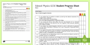 Edexcel Style GCSE Physics, Electromagnetic Induction Progress Sheet - dynamo's, national grid, transformers, voltage, cables