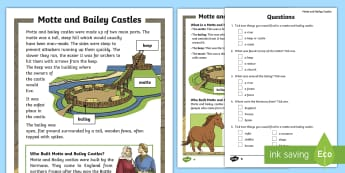KS1 Motte and Bailey Differentiated Reading Comprehension Activity - KS1, history, Motte, Bailey, castle, defend, stone, wood, soldier, barracks, store, room, Norman, in