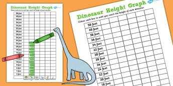 Dinosaur Height Graph Template - dinosaur, height, graph, measure, sheet