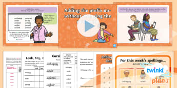PlanIt English Y1 Term 3B W2: The Prefix un- Spelling Pack - Spellings Year 1, Term 3B, W2, prefix, un, ending