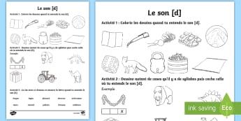 Feuille d'activités : Le son [d] - Son [d], Lecture, Français, Cycle 2, Cycle 1, Reading, Sound,French