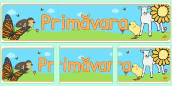Primăvara - Banner - primăvara, banner, de afișat, planșă, decor, Paști, Paște, materiale didactice, română, romana, material, material