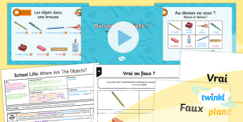 PlanIt - French Year 5 - School Life Lesson 2: Where Are the Objects? Lesson Pack - french, languages, grammar, school, objects, prepositions, subjects, lessons, questions, school life