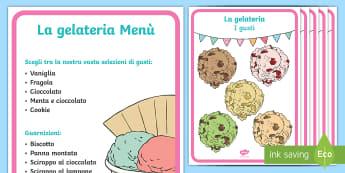La gelateria Offerte Poster - gioco, di, ruolo, gelateria, gelato, classe, poster, italiano, italian, menu, materiale, soclastico,