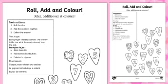 Valentine's Day Colour and Roll Worksheet French Translation - french, valentines day, colour