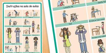 Instruções na sala de aulas Portuguese - portuguese, classroom instructions, word grid, word, grid