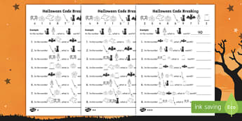 Halloween Themed Place Value Code Breaking Activity Pack