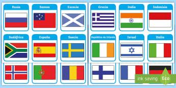 Tarjetas de vocabulario: Países y banderas - Países, banderas, vocabulario, tarjetas, País, bandera,