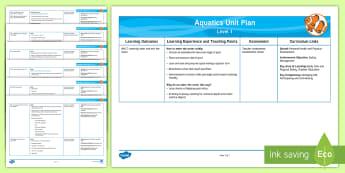 Level 1 Swimming Unit Overview - Swimming, Aquatics, Level 1, Physical Education, planning, assessment, medium-term, nz, new zealand,