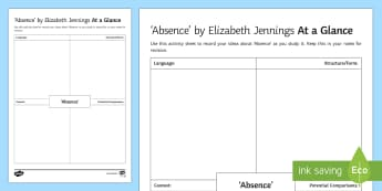 'Absence' by Elizabeth Jennings At A Glance Activity Sheet - The Movement, Time and Place, Edexcel Poetry, GCSE Poetry Anthology, poetry analysis, revision, exam