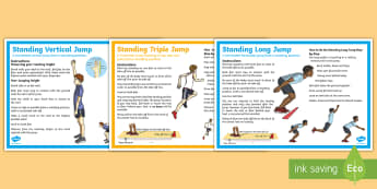 The Standing Long Jump, Triple Jump and Vertical Jump Step-by-Step Instructions - PE, Y6, Y5, Athletics, jumping, long jump, standing long jump, triple jump, standing triple jump, ve