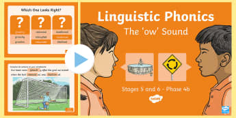 Northern Ireland Linguistic Phonics Stage 5 and 6, Phase 4b, 'ow' Sound PowerPoint  - NI, sound search, word sort, investigation, phonics