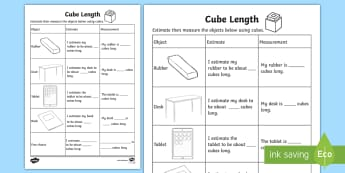 Cube Length Activity Sheet - Mathematics, Year 1, Measurement and Geometry, Using units of measurement, ACMMG019, measuring, info