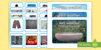 Photo Weather Clothes Sorting Activity English/Spanish - weather, clothes, sorting, activity,waether, WHEATHER, wetaher, weaher,