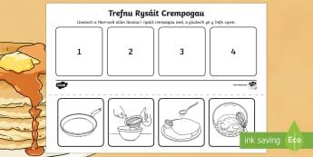 Gweithgaredd Trefnu Rysáit Crempogau - crempog, dydd mawrth ynyd, diwrnod crempog, crempogau, rysait, trefnu, coginio,Welsh, dydd , ddydd, ddiwrnod