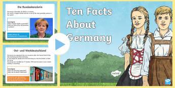 Ten Facts About Germany PowerPoint - Germany, German, MFL, Languages, Europe, KS3 German, German Culture, Angela Merkel, Deutschland