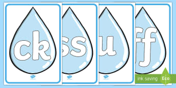 Phase 2 phonemes on raindrops Display Posters - Phase 2 phonemes on Raindrops Display Posters - phonemes, phase 2, rain, weather, raindrops, drops,