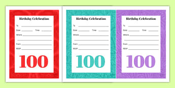 100th Birthday Party Invitations - 100th birthday party, 100th birthday, birthday party, invitations