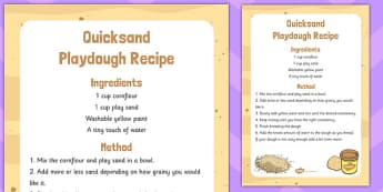 Quicksand Playdough Recipe - quicksand, playdough, recipe, eyfs