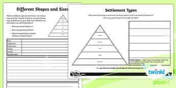 PlanIt - Geography Year 4 - Somewhere to Settle Home Learning Tasks - geography, settlement, settlers, town, village, city, hamlet, somewhere to settle