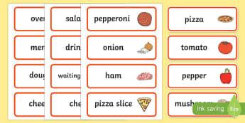 Pizza Parlour Role Play Vocabulary Cards - ESL Vocabulary Resources