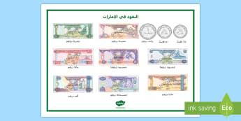 ورقة مفردات النقود في الإمارات - الإمارات، النقود، العملة، فئات النقود، رياضيات، عربي،