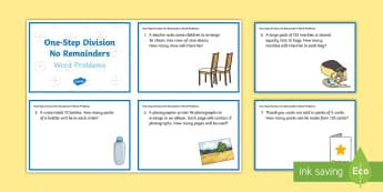 KS2 One-Step Division No Remainders Word Problems Maths Challenge Cards - KS2, Key Stage 2, Year 3, Year 5, Year 6, Y3, Y5, Y6, solve problems, including missing number probl