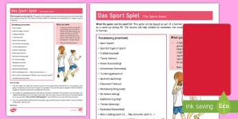 Sports PE Game - German - Sports, German, PE, Game, MFL, languages, Warm-up games, DAF, DAZ, Sport, Spiele