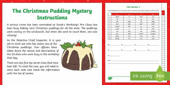 LKS2 The Christmas Pudding Mystery Problem Solving  Game - LKS2 problem solving, Christmas mystery, Christmas pudding mystery, Year 3 problem solving, year 4 p