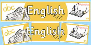 English Display Banner - english, literacy, english banner, literacy banner, english display, english display header, header for english display, writing