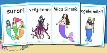 Mica Sirenă - Planșe cu imagini și cuvinte - mica sirenă, planșă, imagini, cuvinte, poveste, clasa pregătitoare, grădiniță, materiale, materiale didactice, română, romana, material, material didactic