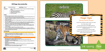 EYFS Tearing Animal Stripes Finger Gym Plan and Prompt Card Pack - animal, stripy, striped, patterns, repeating patterns, stripes, shapes, positional language, fine mo