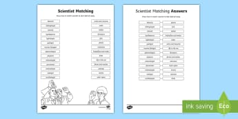 Matching Names of Scientists Activity Sheet - worksheet, science jobs