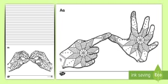 Mindfulness Fingerspelling Colouring Activity Sheets - BSL, AUSLAN, NZSL, British sign language, Worksheets