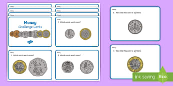 Year 1 Currency Maths Challenge Cards  - money, coins, currency, dollar, uk coins, pound stirling, british coins
