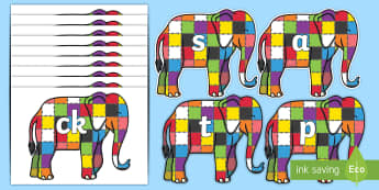 Phase 2 Phonemes on Elmer to Support Teaching on Elmer - Phonemes, phoneme, Phase 2, Phase two, Foundation, Literacy, Letters and Sounds, DfES, display