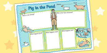 Book Review Writing Frame to Support Teaching on Pig in the Pond - pig in the pond, book review, writing frame, book review writing frame, writing aid, writing template, write