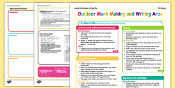 Outdoor Writing and Mark Making Area Continuous Provision Plan Posters Nursery FS1 - EYFS planning, long term planning, fine motor skills