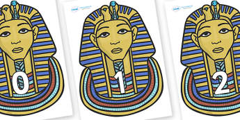 Numbers 0-31 on Tutankhamun - 0-31, foundation stage numeracy, Number recognition, Number flashcards, counting, number frieze, Display numbers, number posters
