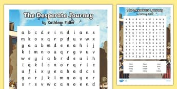 The Desperate Journey Word Searches - highland clearances, cfe, curriculum for excellence, scotland, history, geography, ks2, literacy