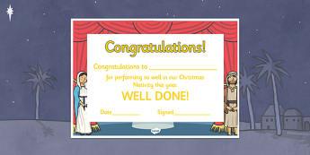 Editable Nativity Certificates - Nativity,  production, show, performance, nativity, editable certificate, tree, xmas, Visual Aids, Mary, Joseph, Jesus, shepherd, wise men, Herod, angel, donkey, stable, Gabriel, First Christmas,Inn, Star, God